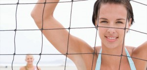 VolleyballYoung Women Playing Beach Volleyball